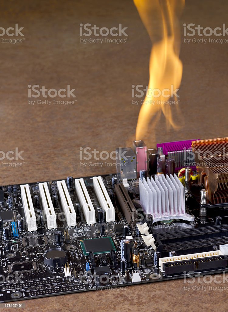 burning computer mainboard royalty-free stock photo