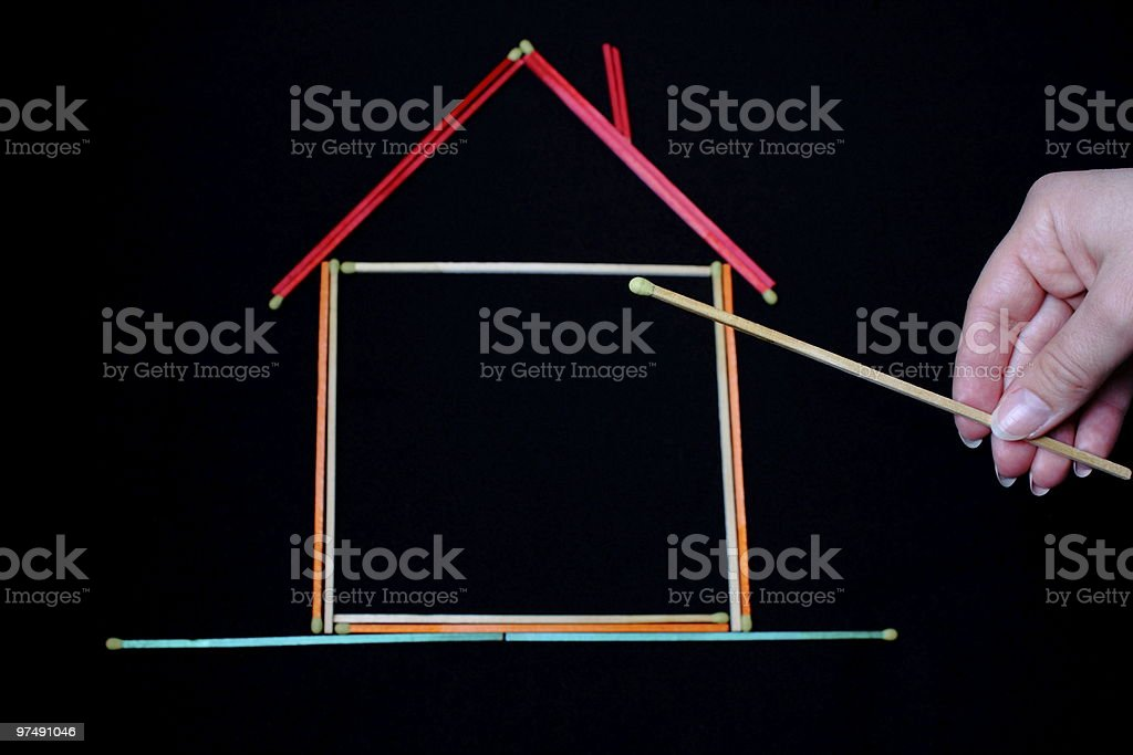Burning down the house royalty-free stock photo