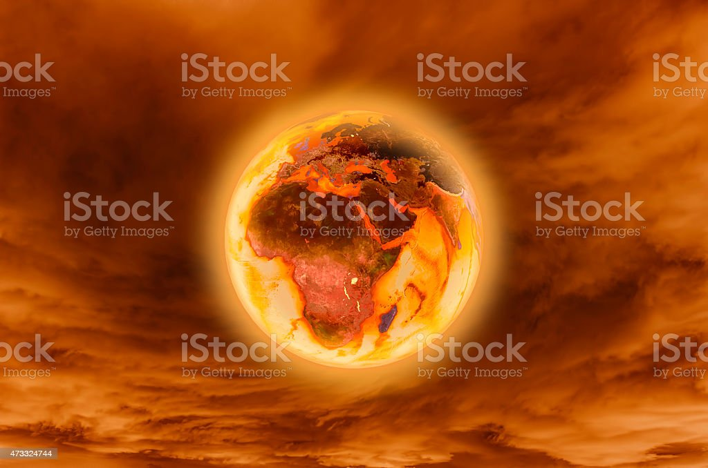 Burning earth -Global Warming Concept (elements furnished by NASA) stock photo