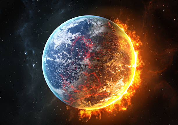 Burning Earth Firy earth between the blue day and the burning red night. burning stock pictures, royalty-free photos & images