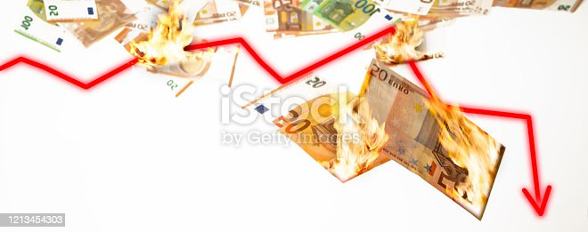 istock burning euro notes falling down on red chart downward 1213454303