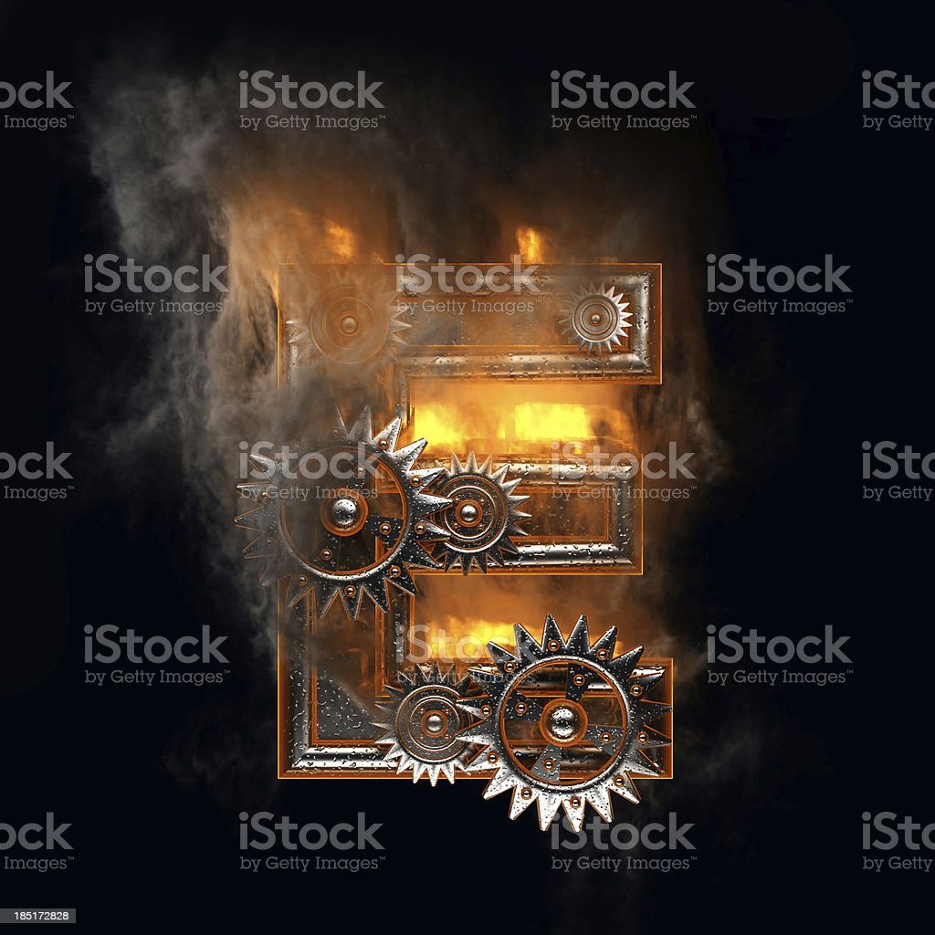 burning figure with gears e royalty-free stock photo