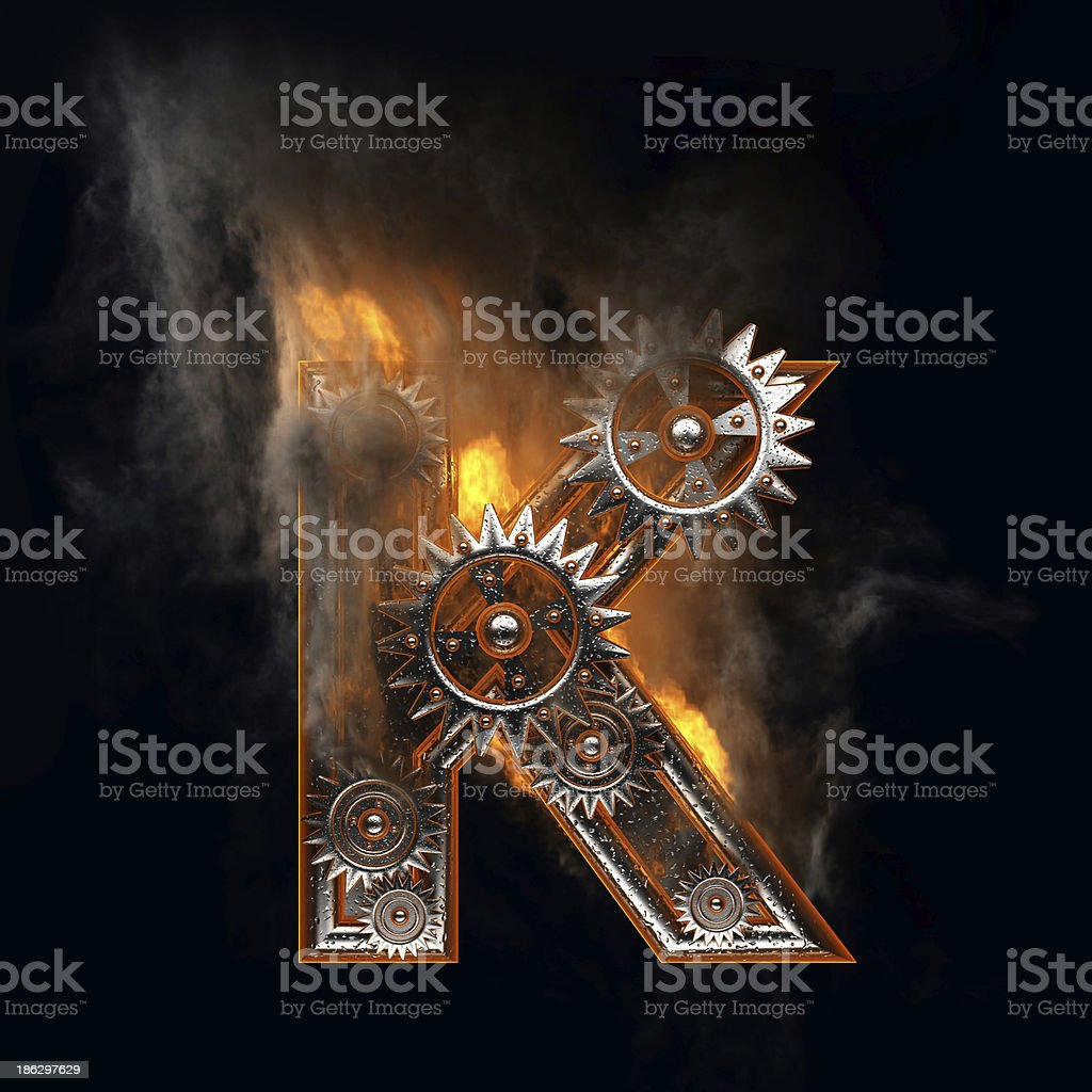 burning figure with gears k royalty-free stock photo