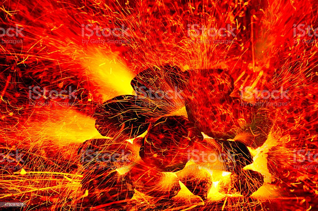 burning fire sparks stock photo