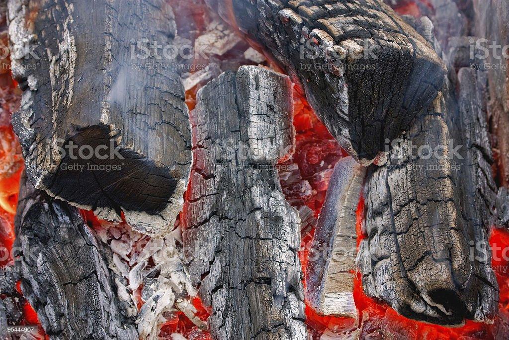 Burning fire wood royalty-free stock photo