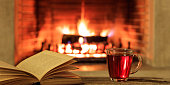 burning fireplace background