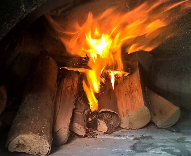 Burning firewood stock photo
