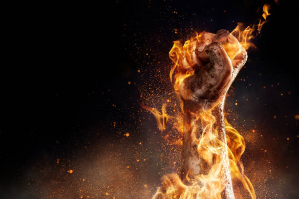 Burning fist - foto de stock