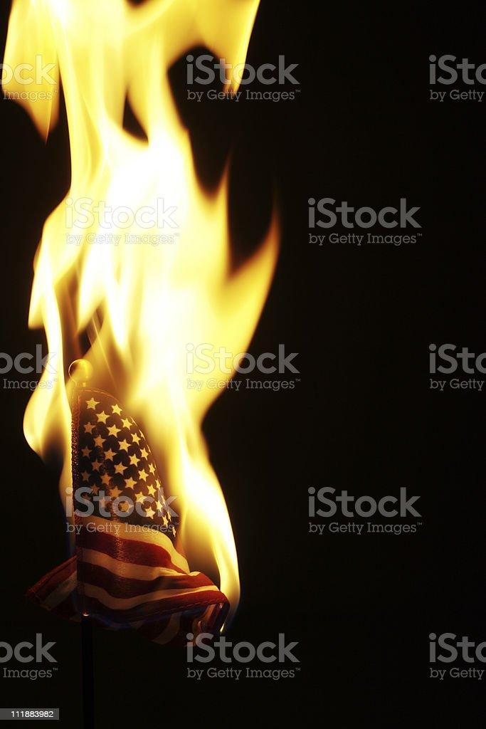 Burning Flag USA stock photo