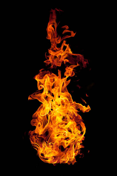 Burning flame isolated on black stock photo