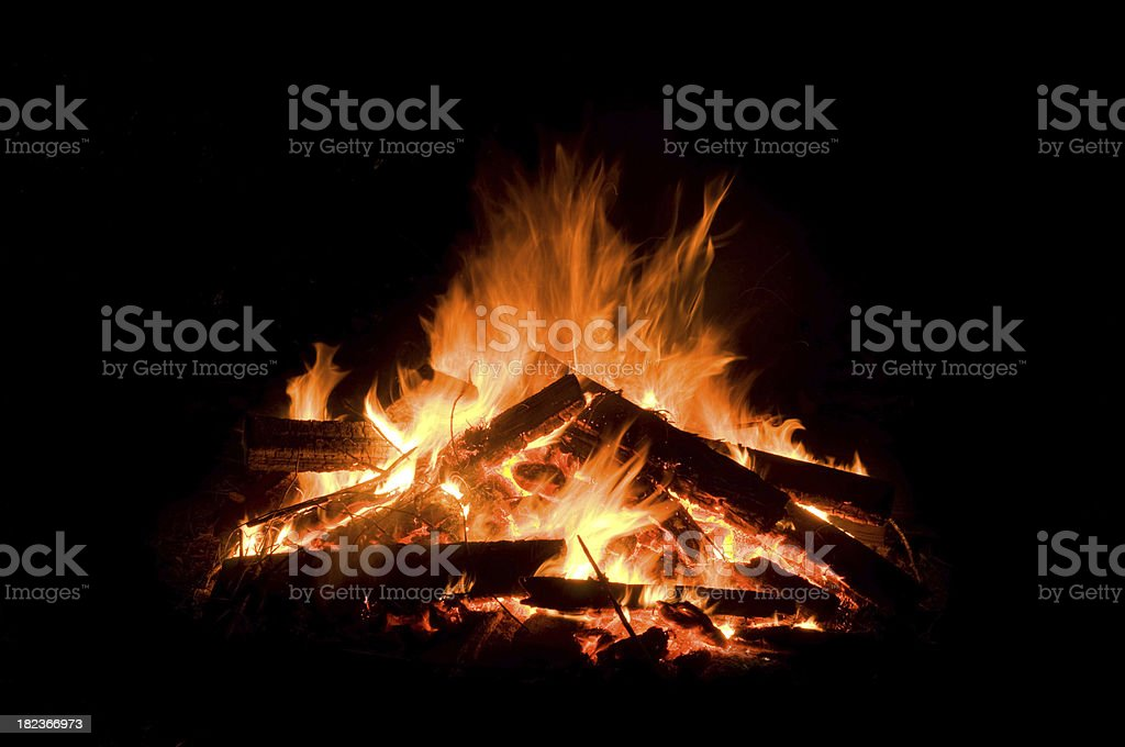 Burning flames fire on a black background royalty-free stock photo