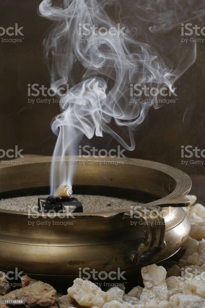 Burning Frankinsence Resin royalty-free stock photo