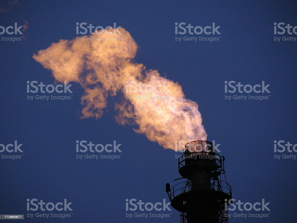 Burning fumes from steel mill royalty-free stock photo