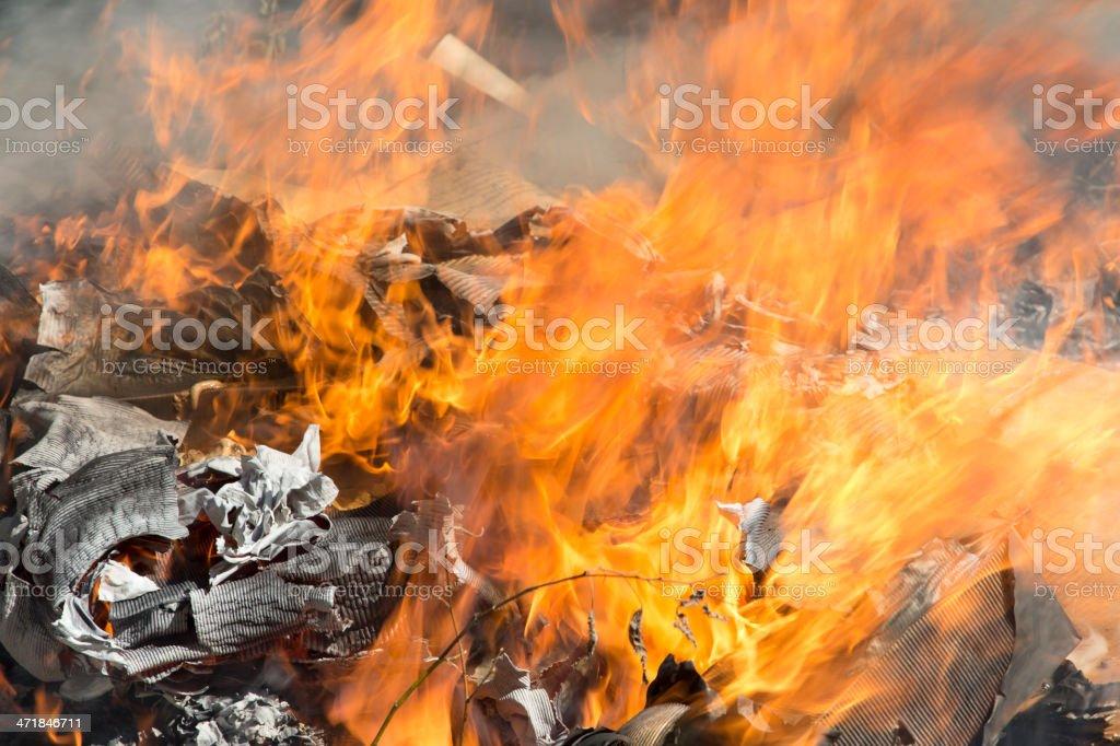 Burning garbage dump stock photo