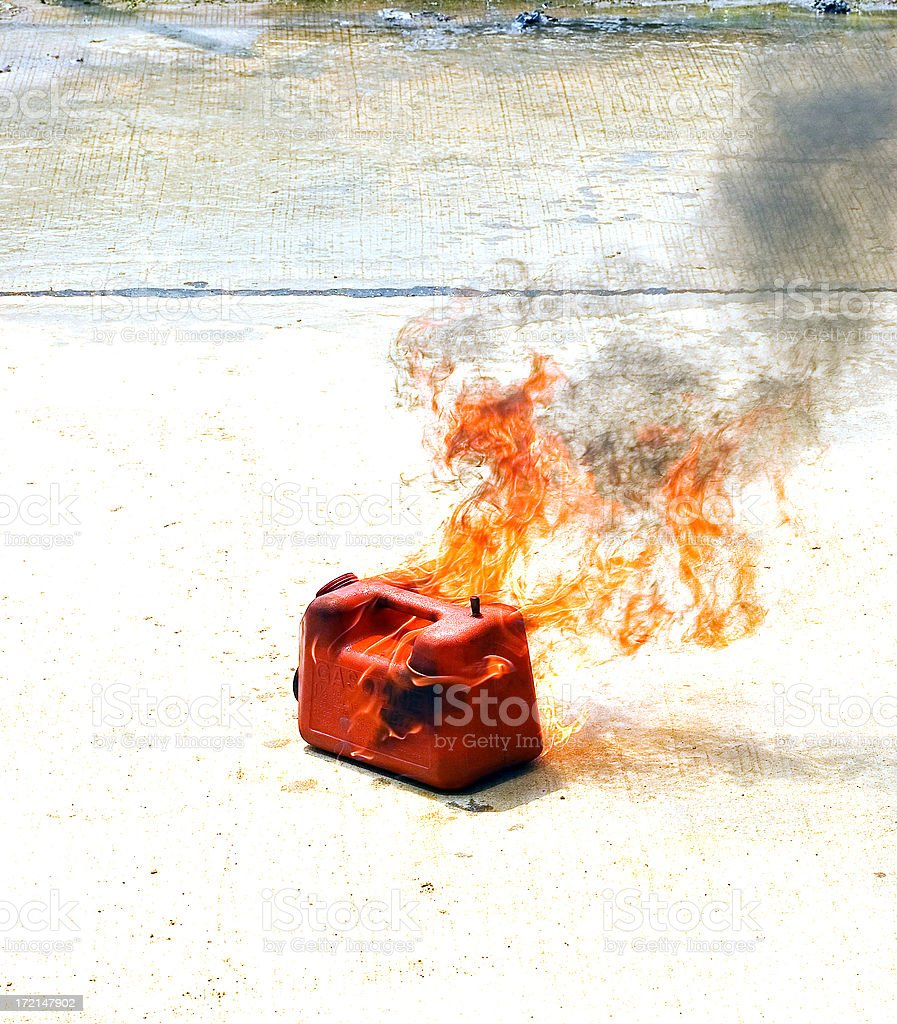 burning gas can royalty-free stock photo