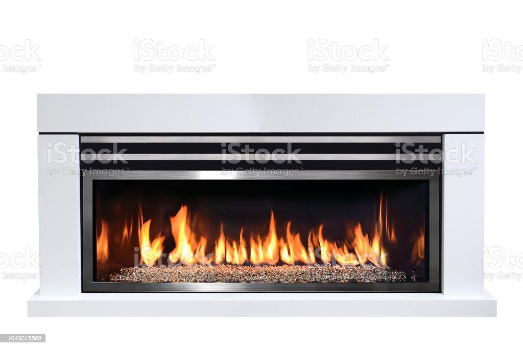 Burning gas fireplace isolated on white background stock photo