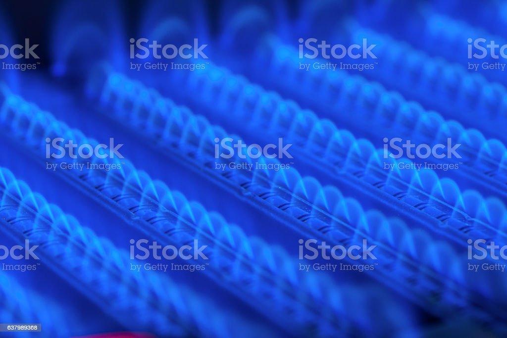 Burning gas in water heater furnace – Foto