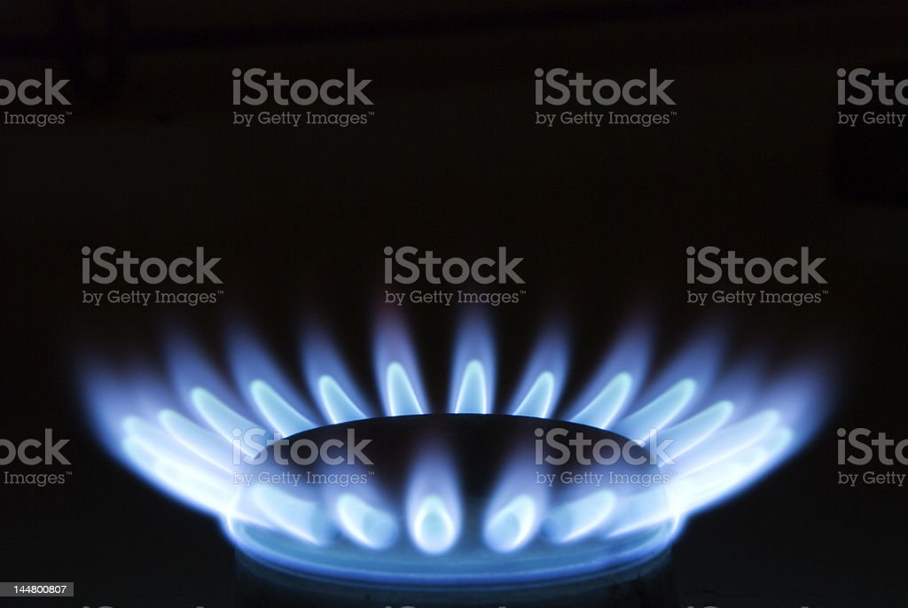 Burning Gas Oven In Kitchen royalty-free stock photo