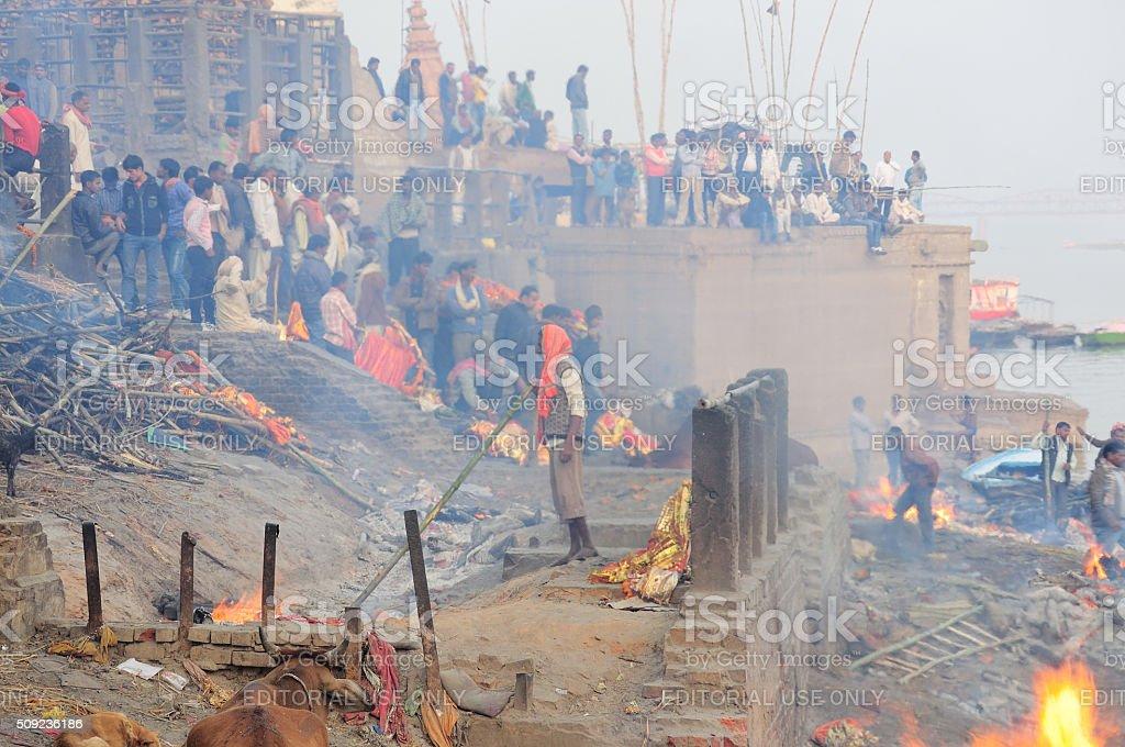 Burning Ghats, Varanasi India stock photo