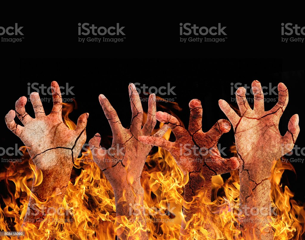 Burning hand stock photo
