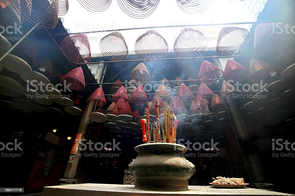 Burning hanging incense coils at chinese temple. royalty-free stock photo