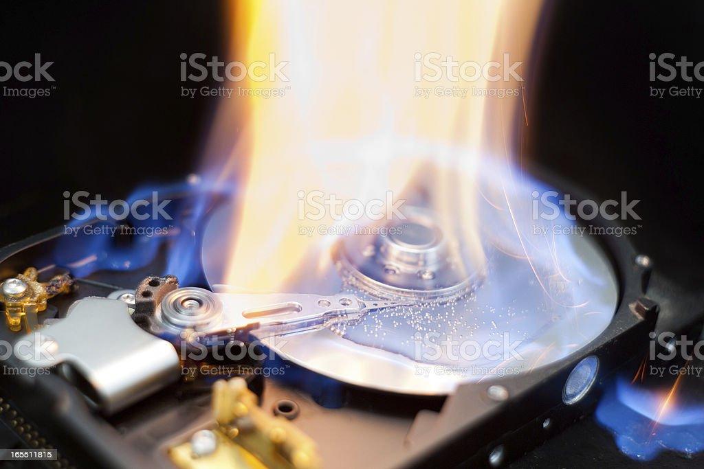 Burning Hard Disk Drive royalty-free stock photo
