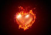 Burning heart. Valentines background.