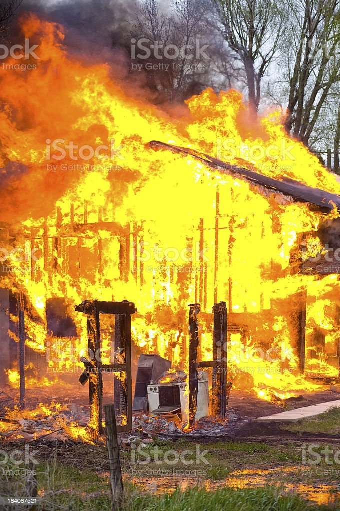 Burning House Fire Inferno stock photo