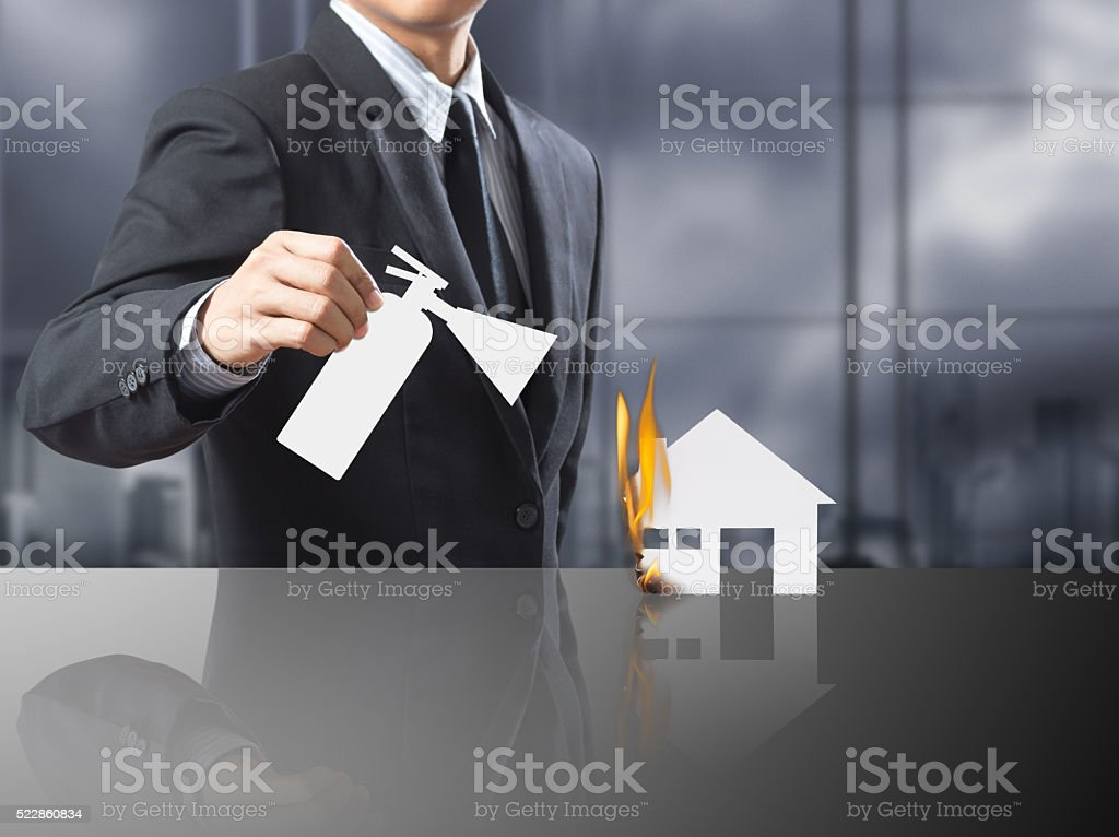 Burning house, Fire insurance stock photo