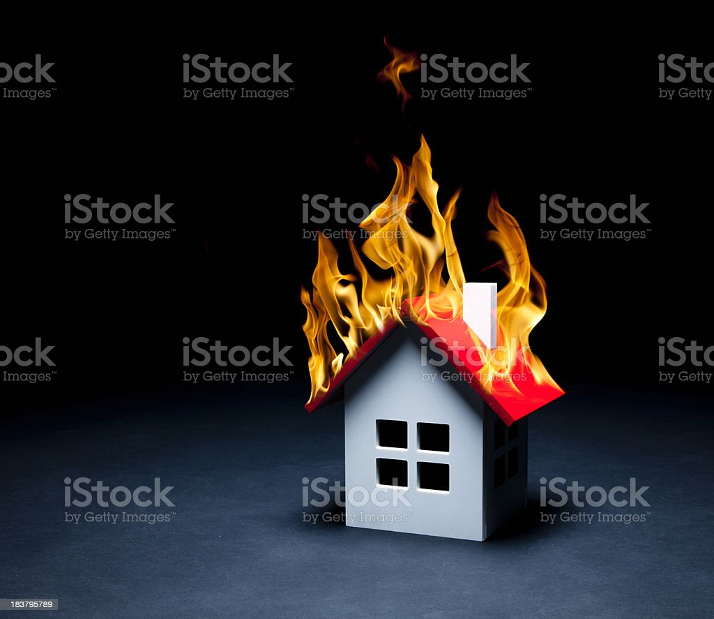 Burning house royalty-free stock photo