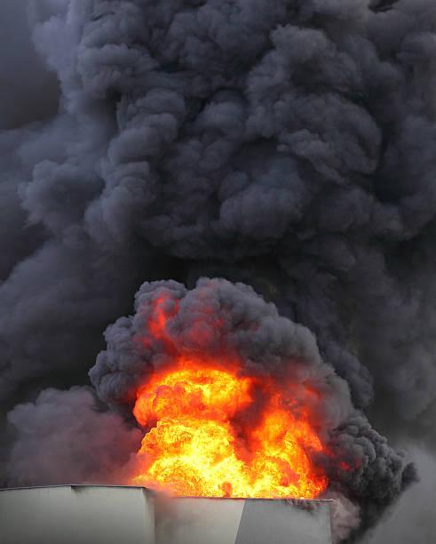 Burning house. stock photo