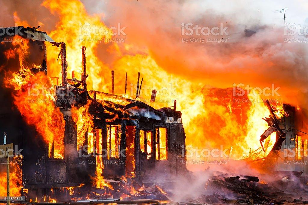 Burning house stock photo