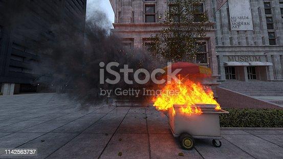 Burning ice cream cart in the city