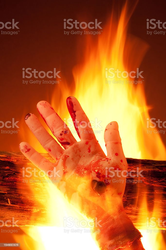 Burning in Hell stock photo