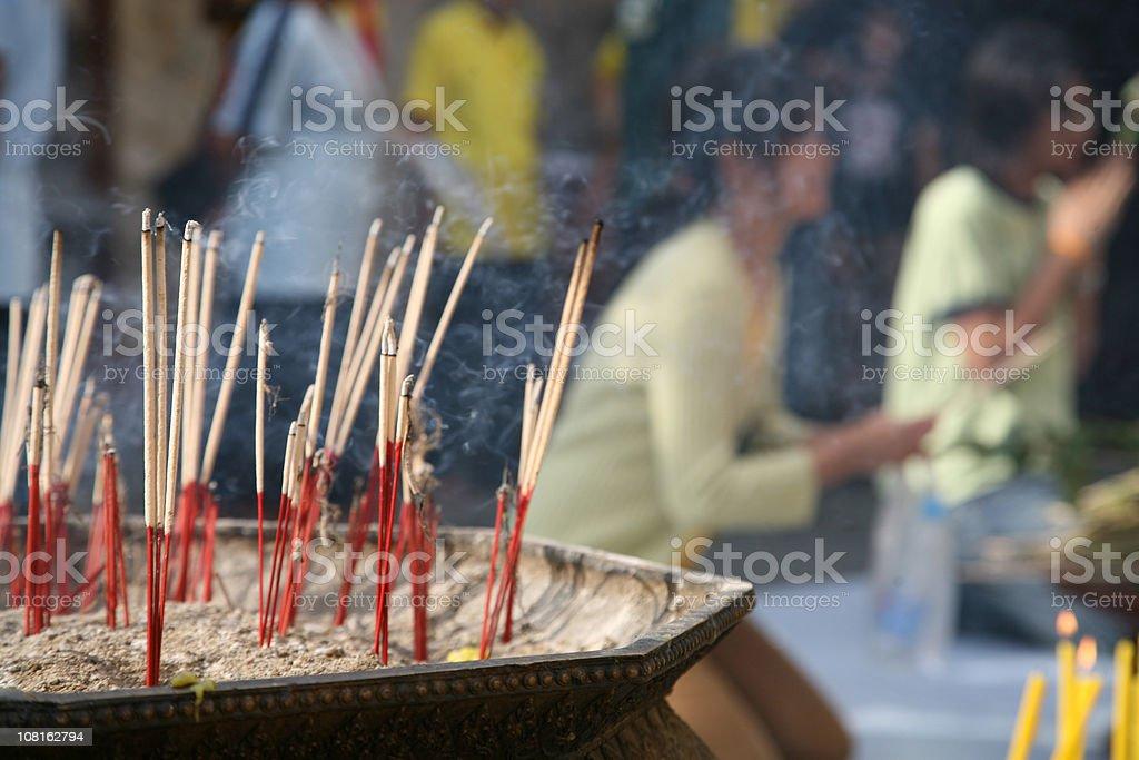 Burning Incense Sticks, Close Up royalty-free stock photo