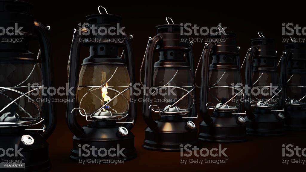 Burning kerosene lamp background, concept lighting. stock photo