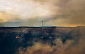 Burning landscape in Spain.