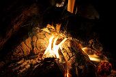 burning logs in fireplace