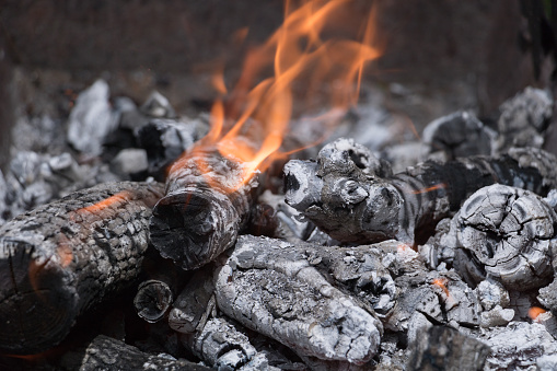 Burning logs in the grill with high temperature