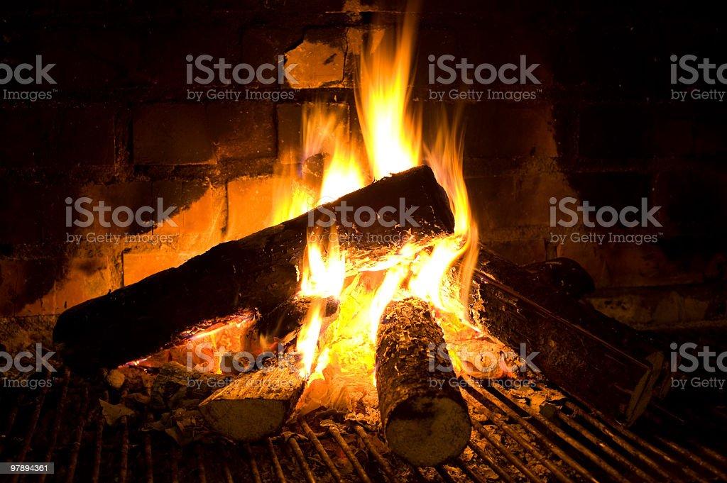 burning logs royalty-free stock photo