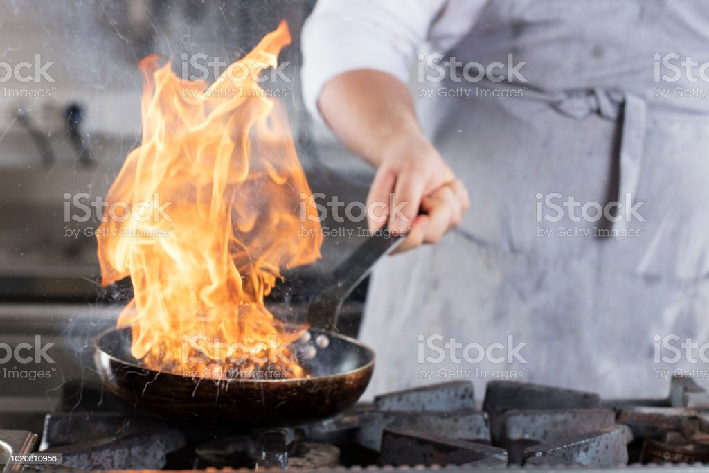 Burning lunch.Frying pan is on fire. stock photo