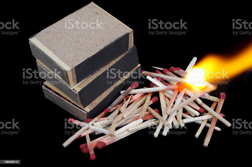 Burning matches royalty-free stock photo