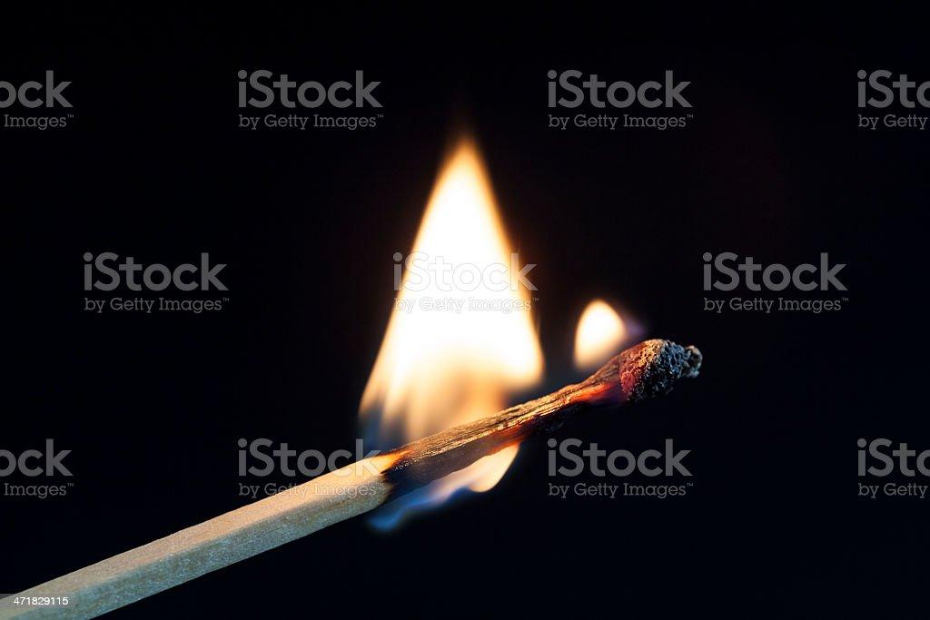 Burning matchstick royalty-free stock photo