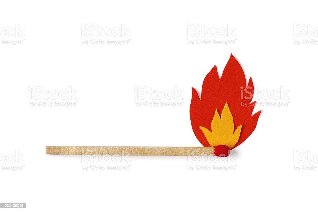 Burning Langes Streichholz symbol mit Flammen Lizenzfreies stock-foto
