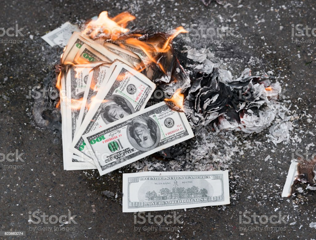 Burning Money, Dollars stock photo