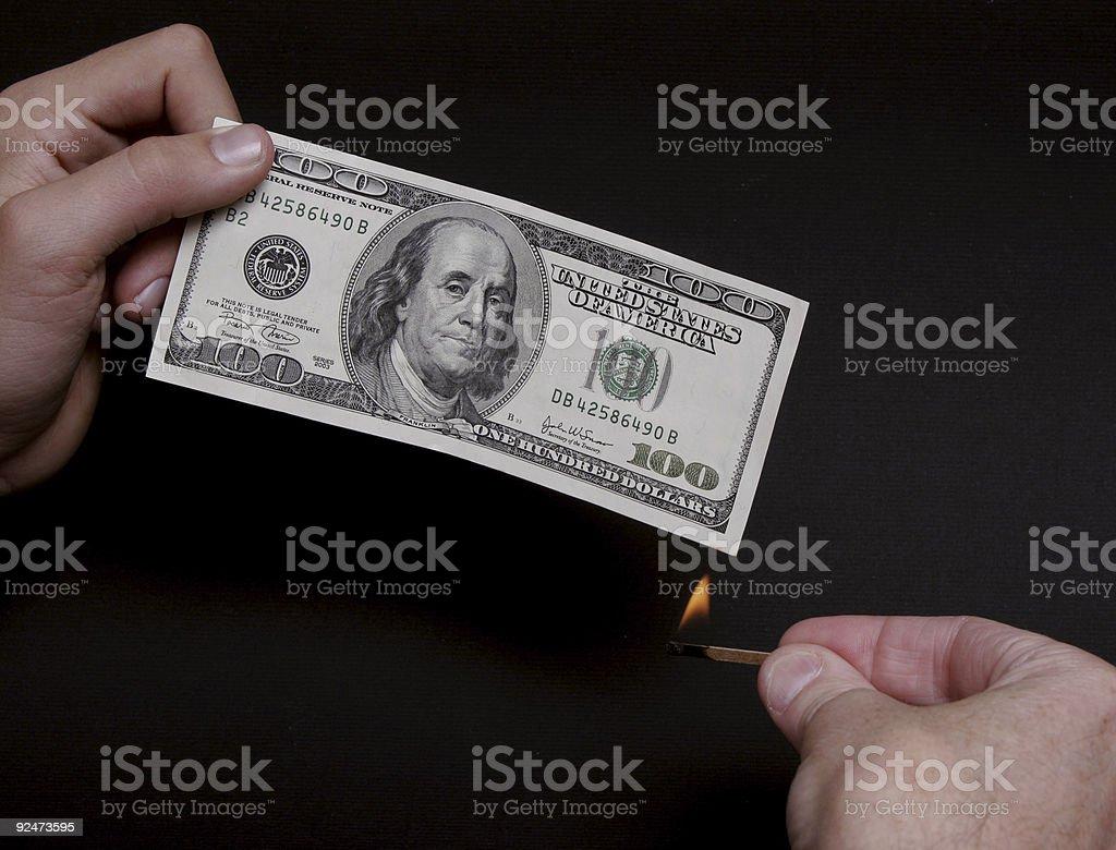 Brennende Geld Lizenzfreies stock-foto