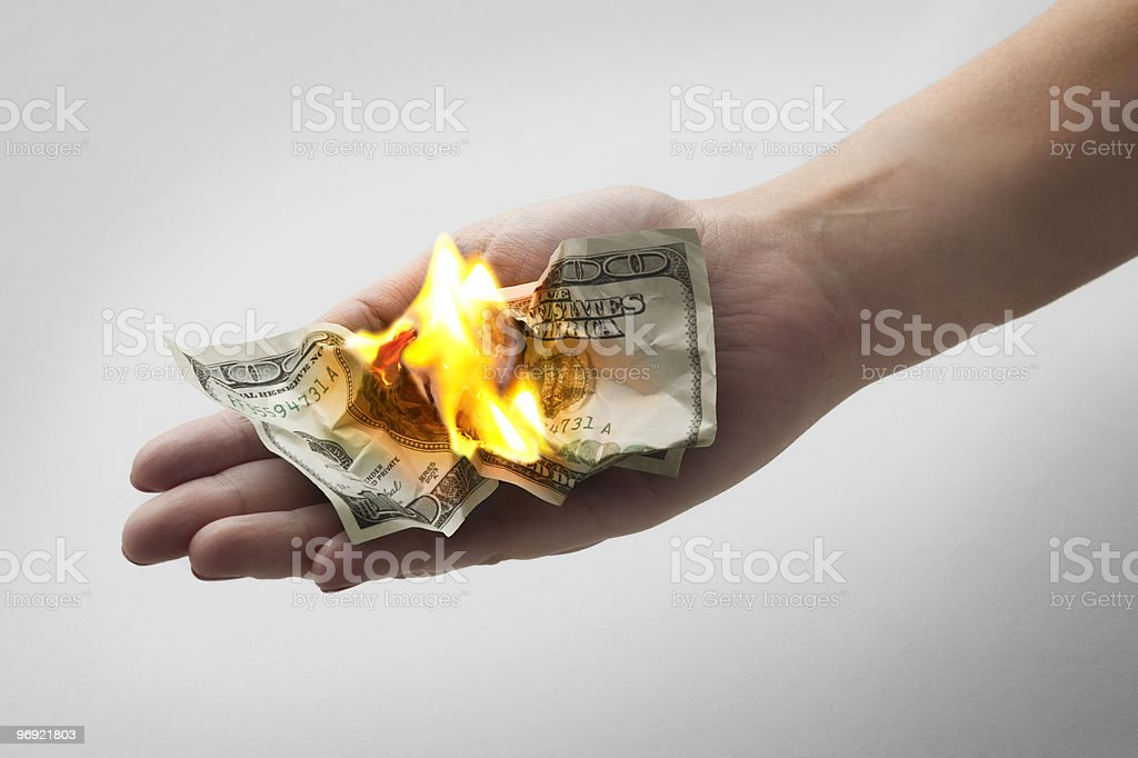 burning money royalty-free stock photo