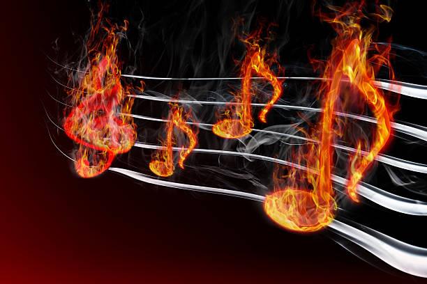 burning music stock photo