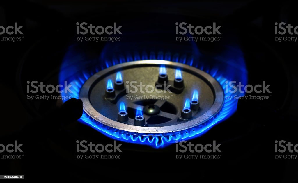 Burning natural gas stock photo