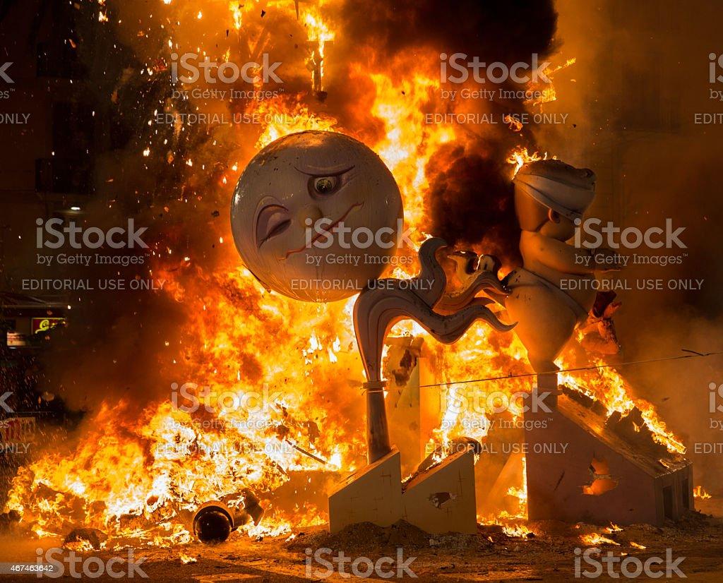 Burning of a falla, Valencia stock photo